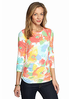 Ruby Rd Petite Must Haves Watercolor Floral Top