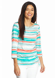 Ruby Rd Petite Must Haves Sunrise Striped Top