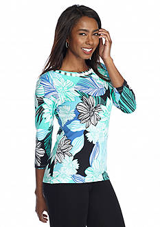 Ruby Rd Petite Must Haves Embellished Boat Neck Floral Top