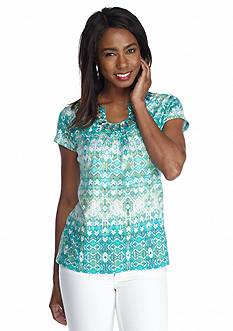 Ruby Rd Petite Must Haves Short Sleeve Aztec Print Top