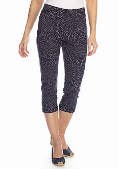 Ruby Rd Key Items Brush Dot Printed Tech Stretch Capri Pants