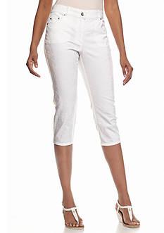Ruby Rd Blanc De Blanc Floral Stretch Capri Pants