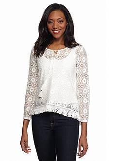 Ruby Rd Blanc De Blanc Crochet Lace Fringe Trim Top