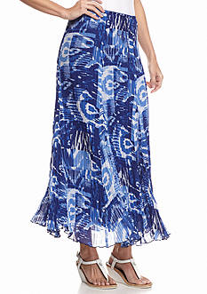 Ruby Rd Corsica Printed Pleated Maxi Skirt