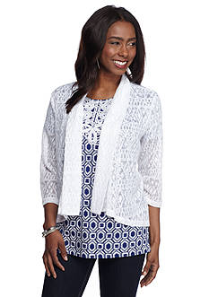 Ruby Rd Corsica Lace High Low Cardigan