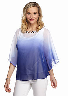 Ruby Rd Corsica Embellished Dip Dye Poncho Top