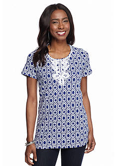 Ruby Rd Corsica Printed Front Applique Top