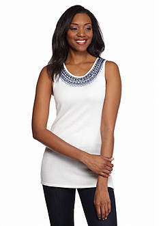 Ruby Rd Corsica Embellished Scoop Neckline Shell