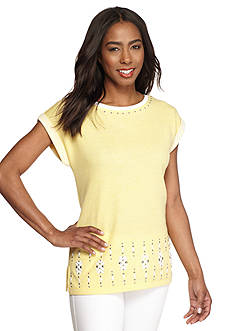 Ruby Rd Pretty Sporty Embellished Front Terry Top