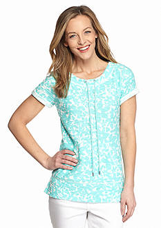 Ruby Rd Pretty Sporty Floral Kangaroo Pocket Tunic