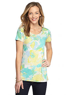 Ruby Rd Pretty Sporty Embellished Printed Jersey Top