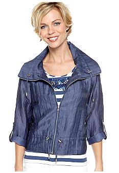 Ruby Rd Blue Horizon Crinkle Linen Jacket