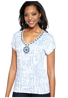 Ruby Rd Blue Horizon Embellished V-Neck Tie Dye Top