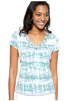 Ruby Rd Blue Horizon Tie Dye Embellished V-Neck Top