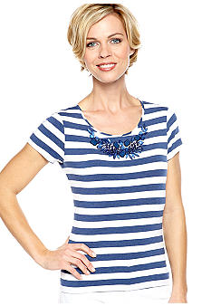 Ruby Rd Blue Horizon Embellished Stripe Knit