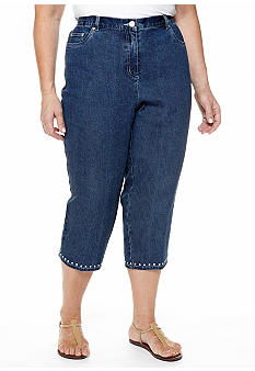 Ruby Rd Plus Size Blue Horizon Side Elastic Embellished Hem Denim Capri