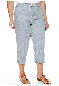 Ruby Rd Plus Size Blue Horizon Embellished Stripe Denim Capri