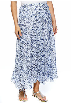 Ruby Rd Plus Size Blue Horizon Tie Dye Printed Tiered Skirt