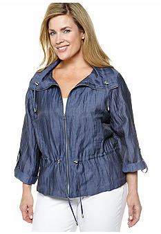 Ruby Rd Plus Size Blue Horizon Crinkle Shimmer Blouson Jacket