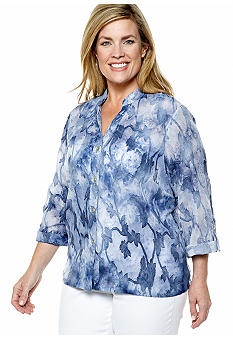 Ruby Rd Plus Size Blue Horizon Water Printed Jacquard Blouse