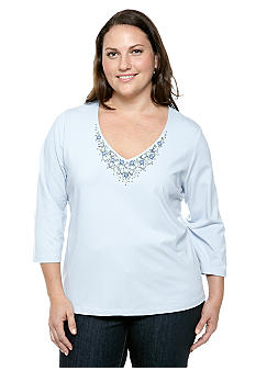 Ruby Rd Plus Size Blue Horizon V-Neck Embellished Solid Knit Top