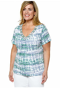 Ruby Rd Plus Size Blue Horizon Tie Dye Embellished V-Neck Knit Top