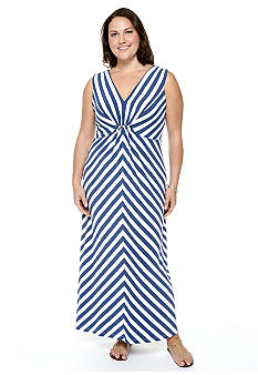Ruby Rd Plus Size Blue Horizon Embellished Stripe Sleeveless Maxi Dress