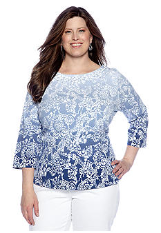 Ruby Rd Plus Size Blue Horizon Embellished Boat Neck Top