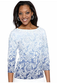 Ruby Rd Petite Blue Horizon Embellished Boat Neck Top