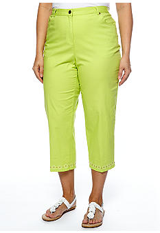Ruby Rd Plus Size Citrus Splash Embellished Canvas Capri