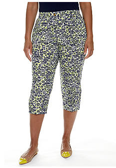 Ruby Rd Plus Size Citrus Splash Graphic Motif Canvas Capri
