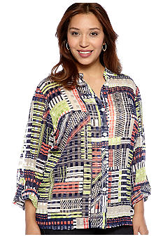 Ruby Rd Plus Size Citrus Splash Block Stripes Sheer Button Up Blouse