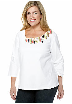Ruby Rd Plus Size Citrus Splash Embellished Asymmetrical Knit Top