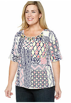 Ruby Rd Plus Size Citrus Splash Patchwork Printed Knit Top