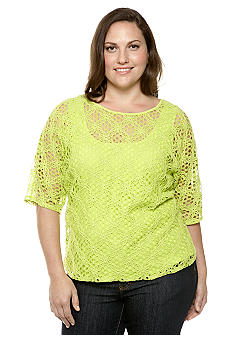 Ruby Rd Plus Size Citrus Splash Floral Lace Layered Top