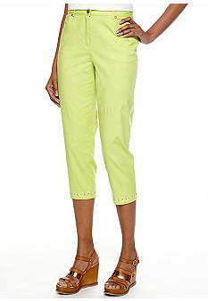 Ruby Rd Petite Citrus Splash Side Elastic Capri with Embellished Hem