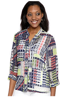 Ruby Rd Petite Citrus Splash Jacquard Silk Printed Shirt