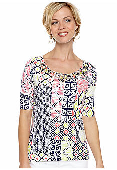 Ruby Rd Petite Citrus Splash Embellished Scoop Neck Top