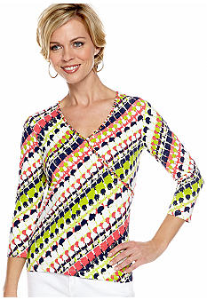 Ruby Rd Petite Citrus Splash Embellished Faux Wrap Top