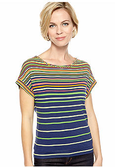 Ruby Rd Petite Citrus Splash Short Sleeve Stripe Knit Top