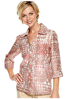 Ruby Rd Santa Fe Button Front Burnout Shirt