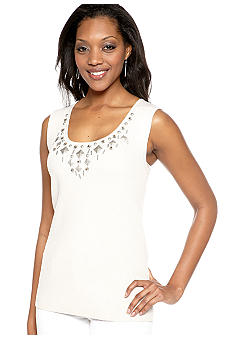 Ruby Rd Santa Fe Embellished Scoop Neck Sleeveless Shell