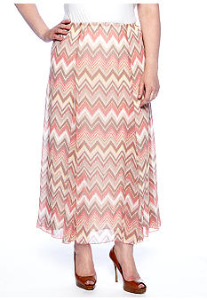 Ruby Rd Plus Size Santa Fe Zigzag Printed Skirt