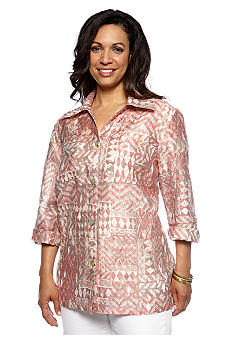 Ruby Rd Plus Size Santa Fe Button Front Burnout Shirt