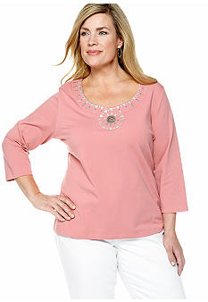 Ruby Rd Plus Size Santa Fe Swirl Neck Knit Top