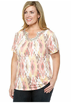 Ruby Rd Plus Size Santa Fe Ikat Printed Open Keyhole Knit Top