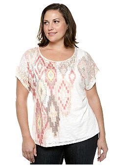 Ruby Rd Plus Size Santa Fe Ikat Burnout Knit Top