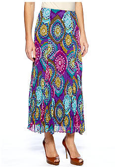 Ruby Rd Tropical Paradise Crinkle Pleat Chiffon Long Skirt