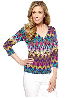 Ruby Rd Tropical Paradise Faux Wrap Print Top