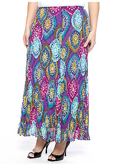 Ruby Rd Plus Size Tropical Paradise Medallion Gored Yoryu Skirt